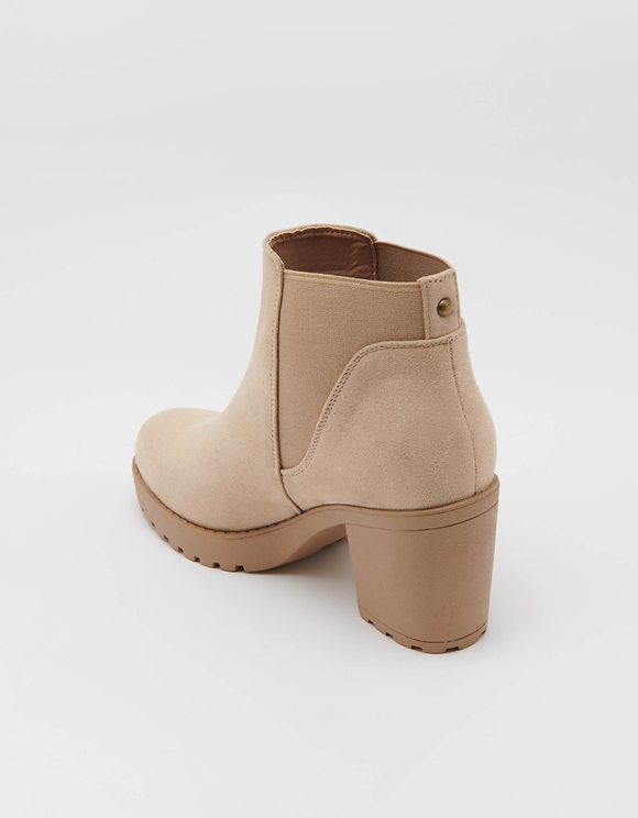 Heeled Ankle Boots in Beige