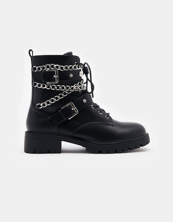 Black Ankle Boots with Buckles & Chains