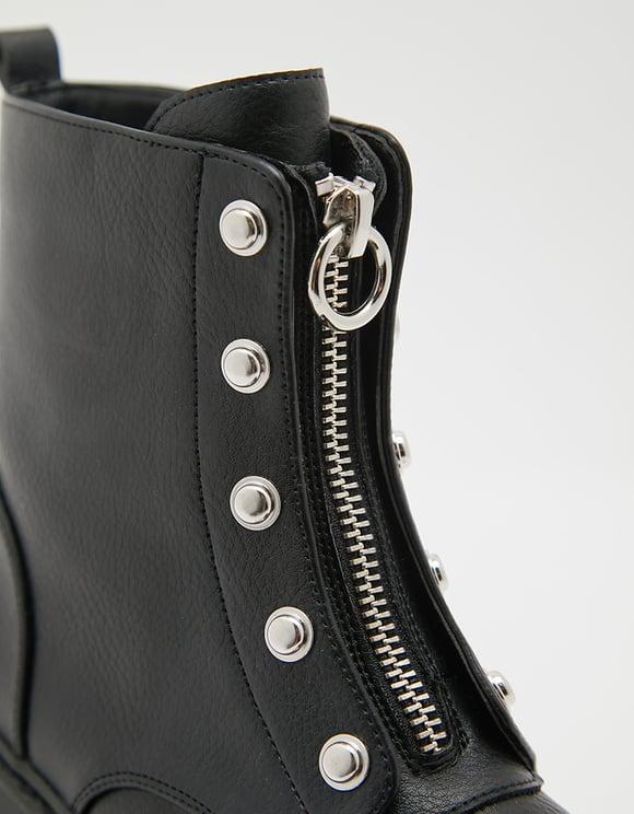 Bottines Noires Zippées