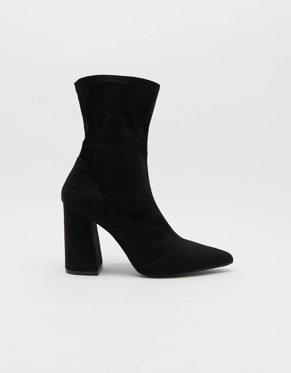 Heeled Sock boots in Black