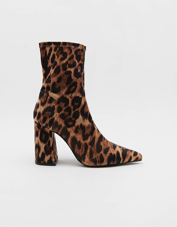Heeled Sock boots in Leopard