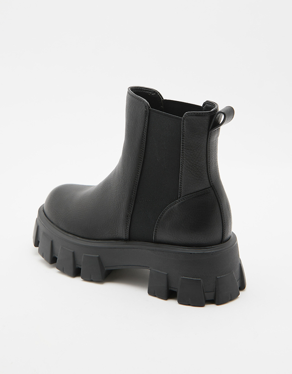 Black Chunky Sole Ankle Boots