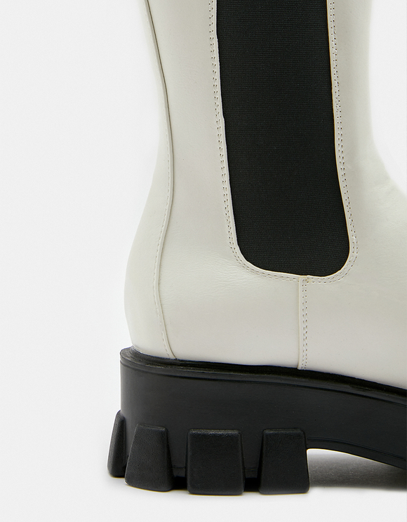 White Chunky Sole Boots