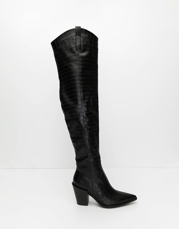Bottines Noires Faux Croco