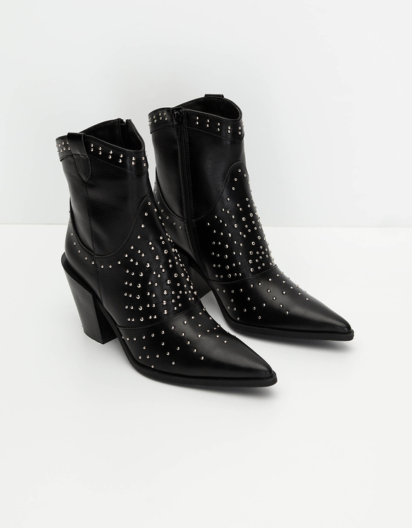 Black Western Style Boots with Studs