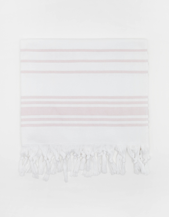 White Striped Beach Towel