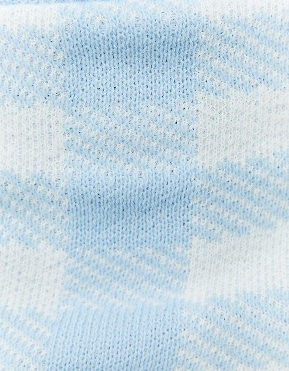 Jupe Bleue à Carreaux en Maille