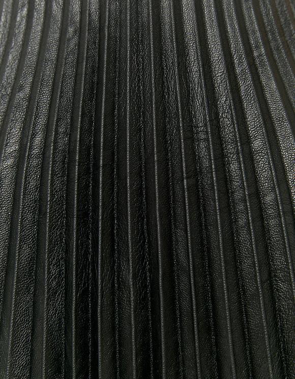 Pleated Faux Leather Mini Dress