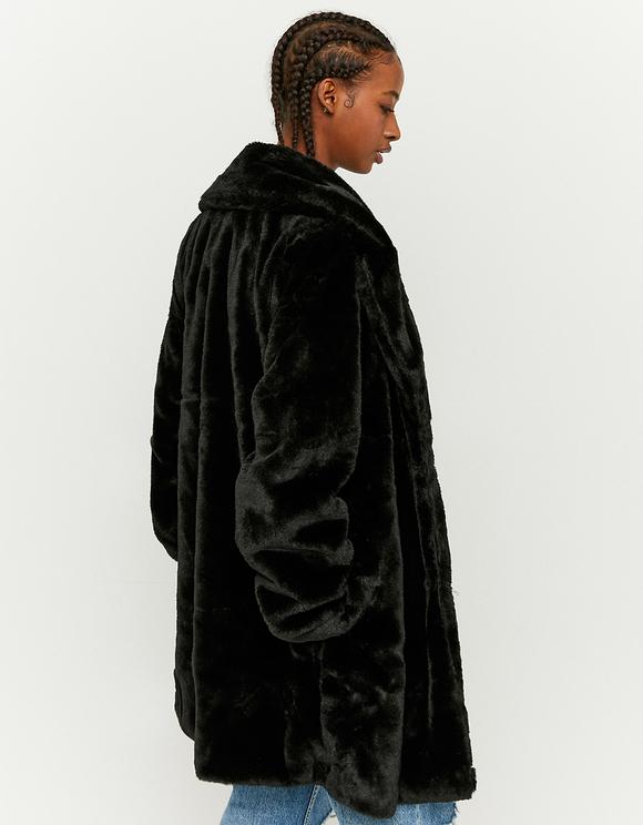 Schwarzer Mantel aus Kunstfell