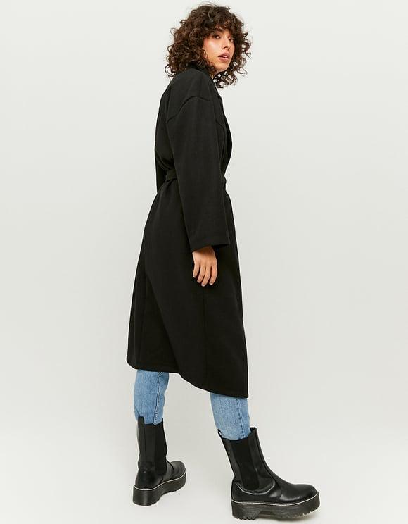 Manteau Noir Cache-Cœur
