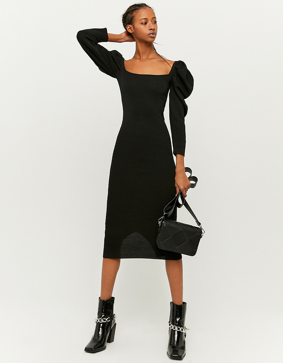 Black Puff Sleeves Knitted Dress
