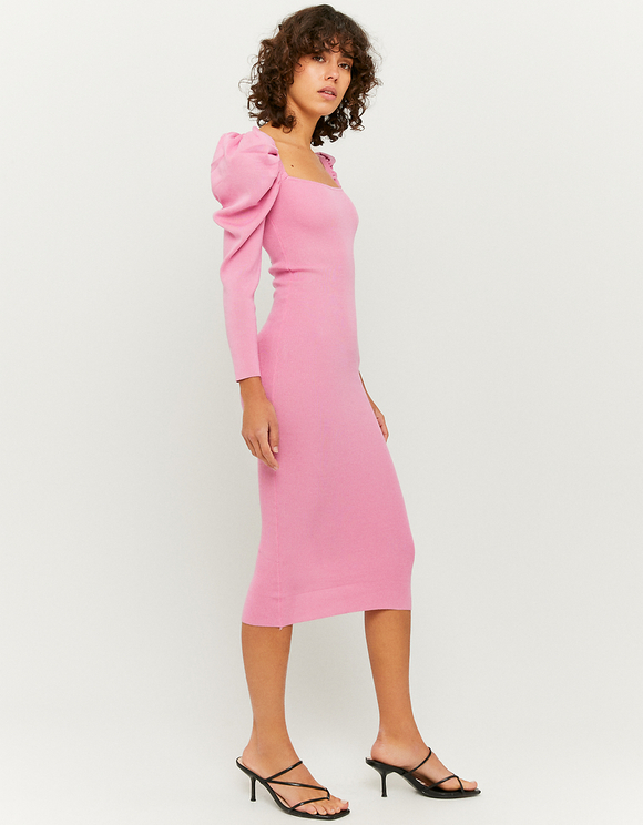 Pink Puff Sleeves Knitted Dress