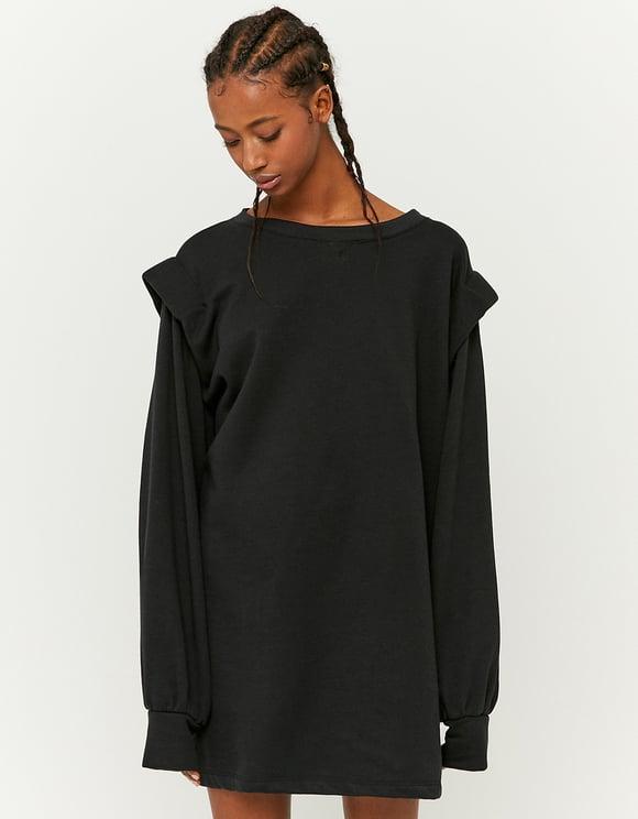 Black Shoulder Pad Sweatshirt