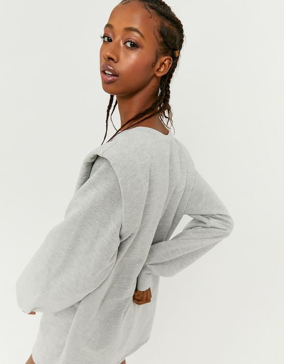 Grey Shoulder Pad Sweatshirt