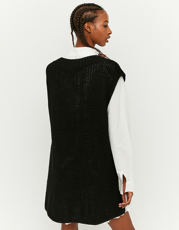 Black Oversize Sleeveless Jumper