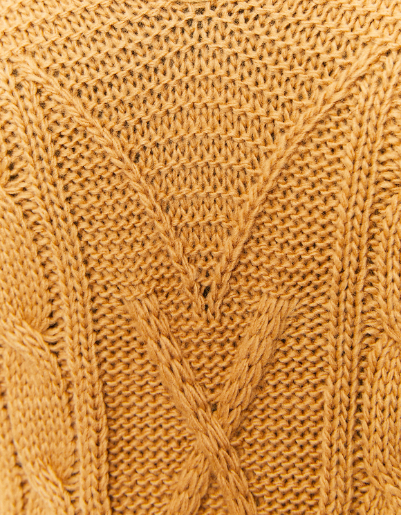 Beige Sleeveless Cable Knit Jumper