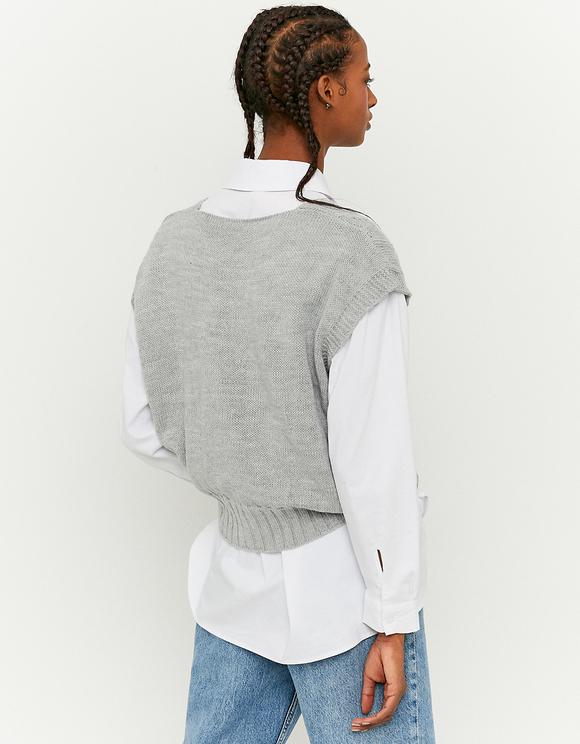 Grey Cropped Sleeveless Jumper