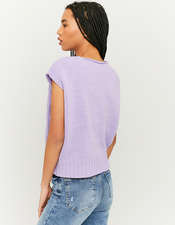 Purple Sleeveless Cable Knit Jumper