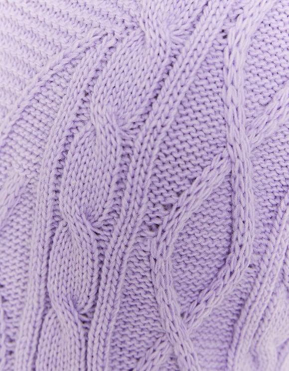 Ärmelloser Pullover auf Zopfstrickmuster mit V-Ausschnitt