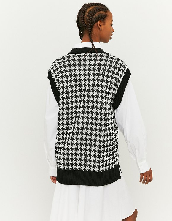 Black Houndstooth Sleeveless Jumper