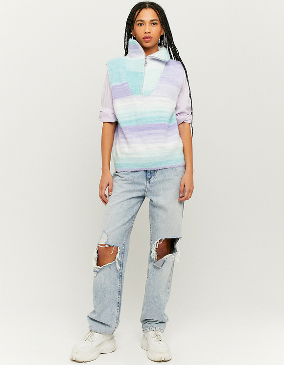 Multicolor Sleeveless Jumper with Zip