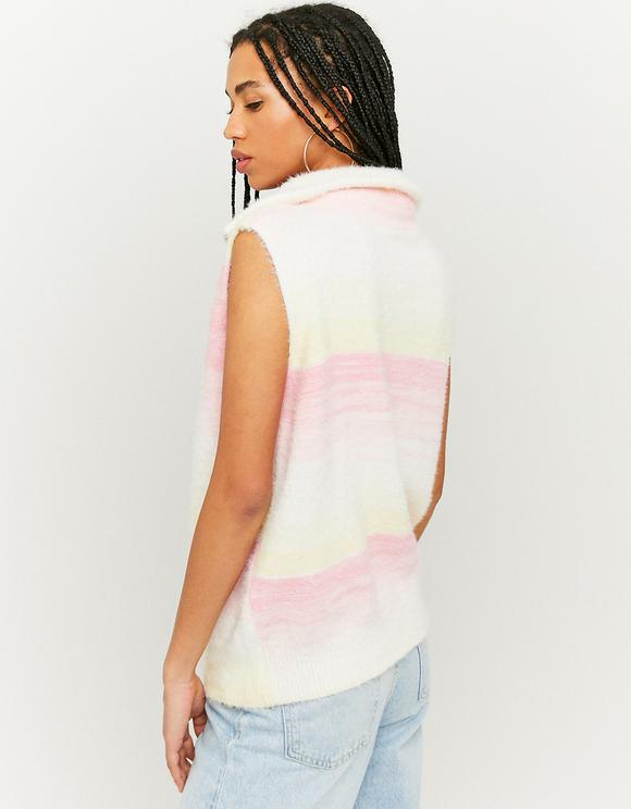 Bunter ärmelloser Pullover mit Reißverschluss