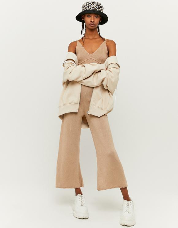 Pantalon en Maille Flare Beige