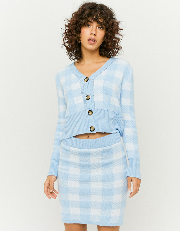 Blue Checked Cardigan