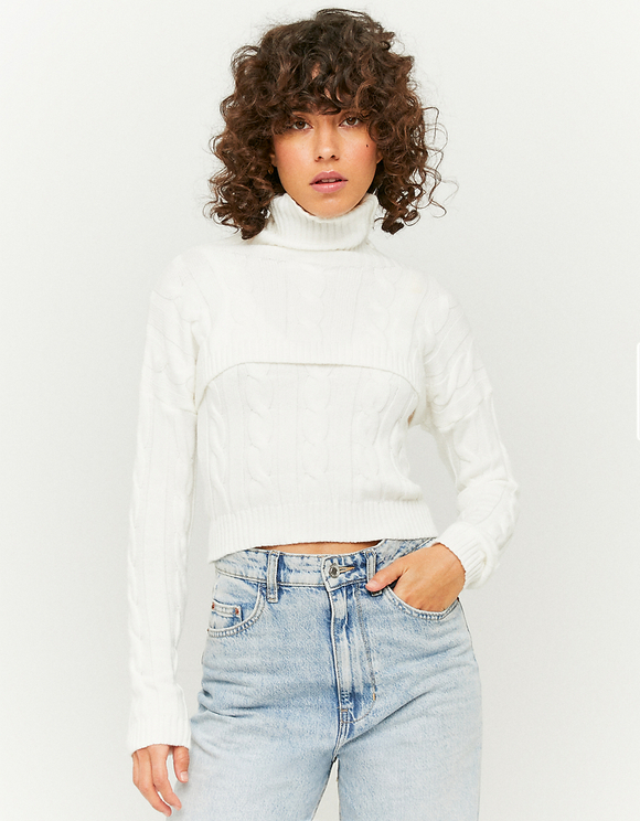 White Super Cropped Jumper