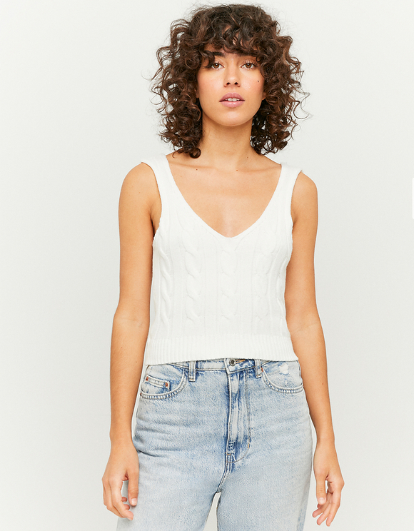 White Sleeveless Knit Top