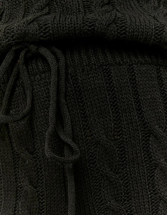 Pantalon Flare en Maille Torsadée Noir