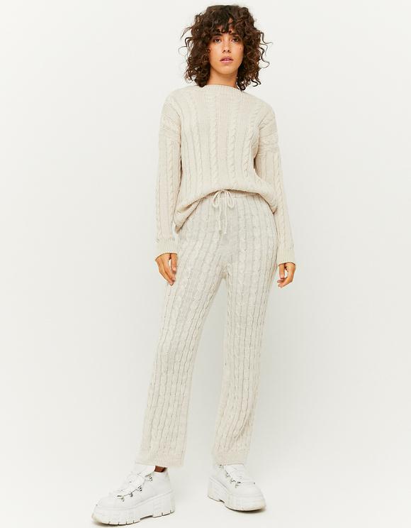 Pantalon Flare en Maille Torsadée Blanc