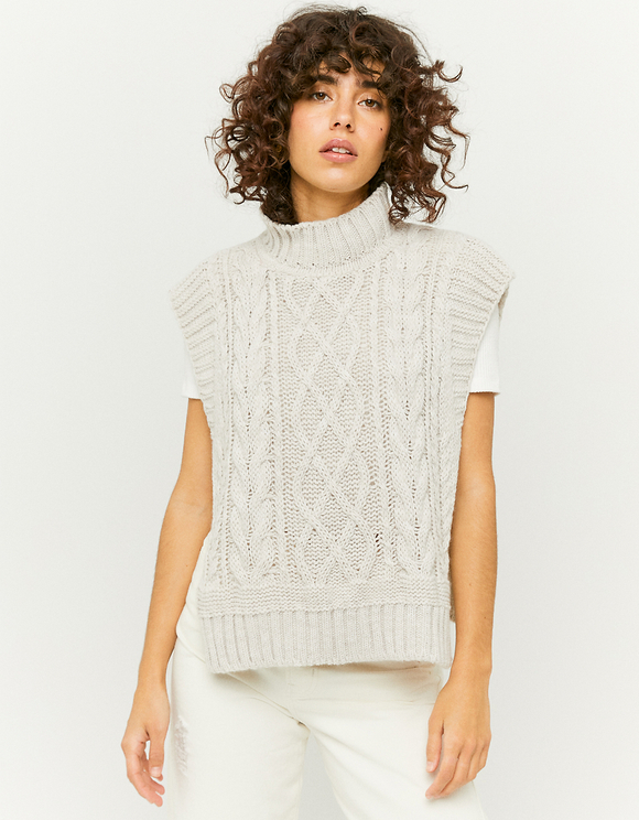 White Cable Knit Cropped Poncho