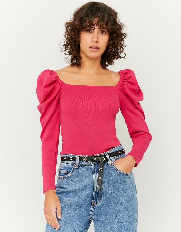 Pinker Pullover mit Puffärmeln