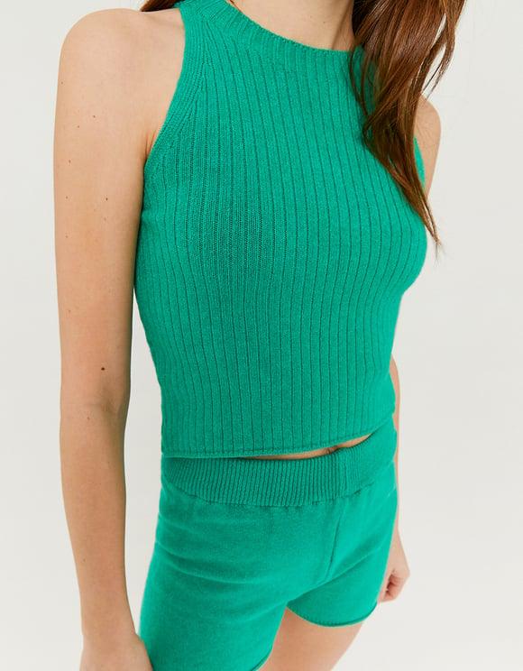 Grüne Strick-Top
