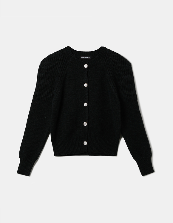 Shoulder Pad Knit Cardigan