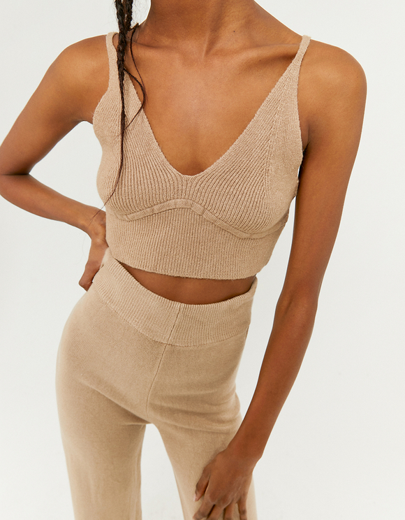 Crop Top en Maille Beige