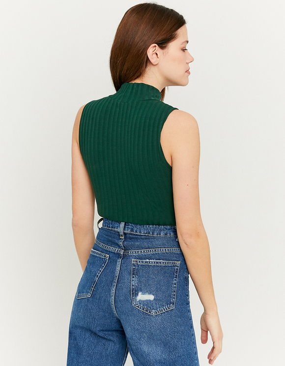 Green Ribbed Bodysuit