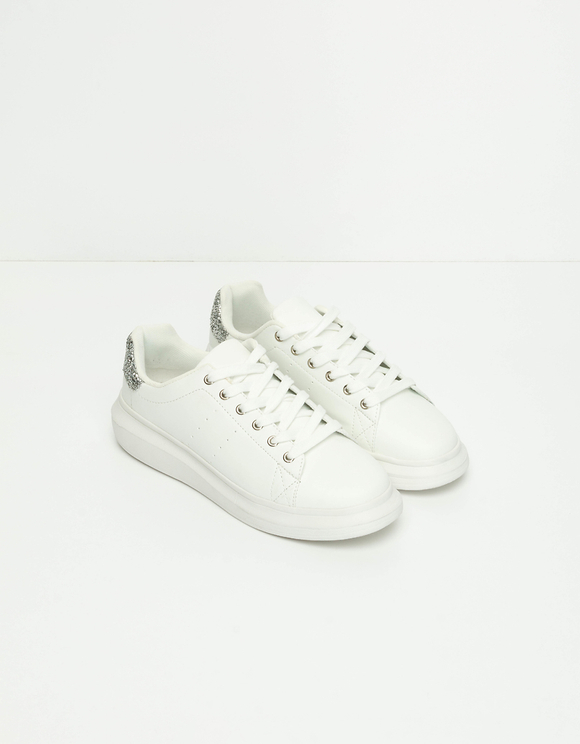 White Platform Trainers with Glitter Detail