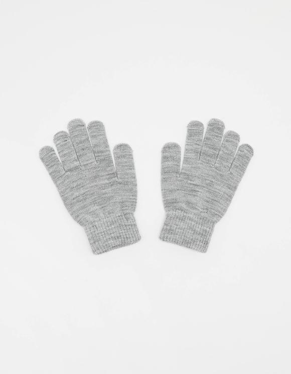 Grey Knit Gloves