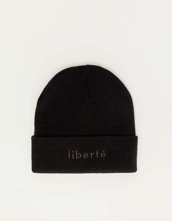 Black Beanie with Turn-up Brim