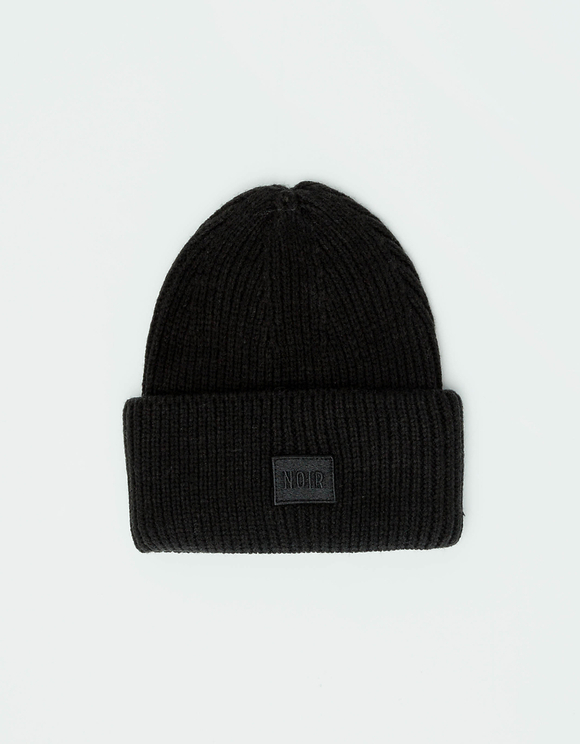 "Black ""Noir"" Ribbed Beanie"