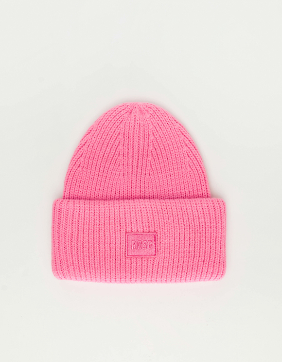 "Pink ""Rose"" Ribbed Beanie"