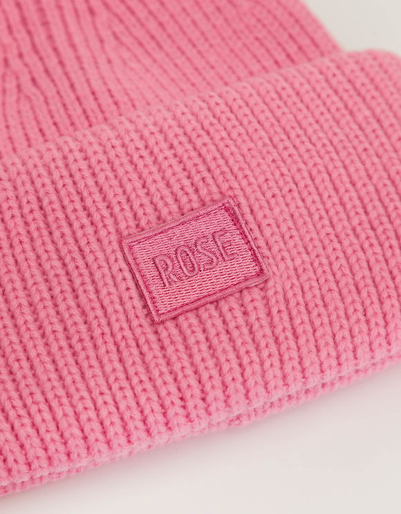 """Pink """"Rose"""" Ribbed Beanie"""