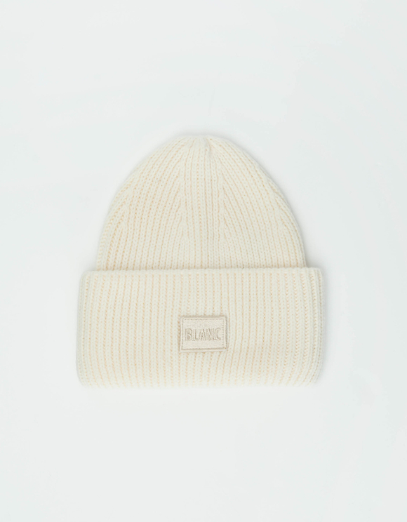 White Beanie with Turn-up Brim