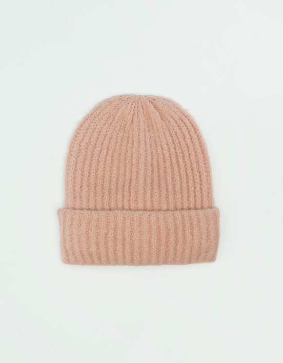 Pinke, gerippte Strick-Mütze