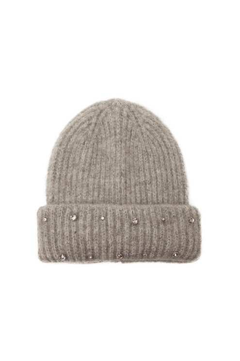 Grey Beanie with Rhinestones