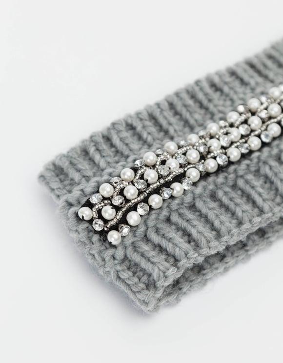 Grey Rhinestones Headband