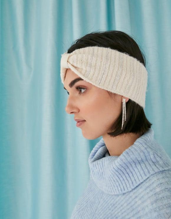 Geripptes Strick-Kopfband mit Strass