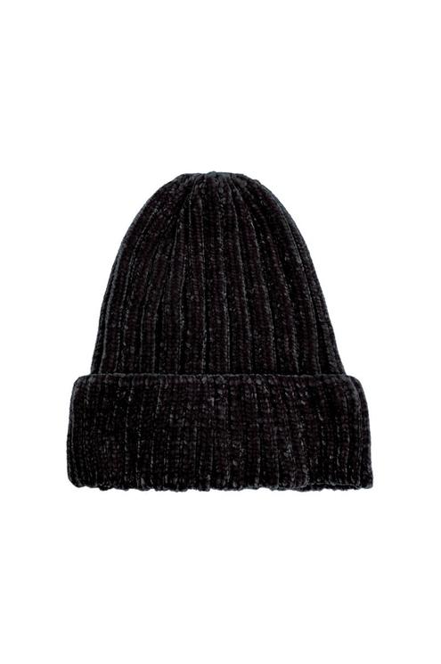 Schwarze Chenille Mütze